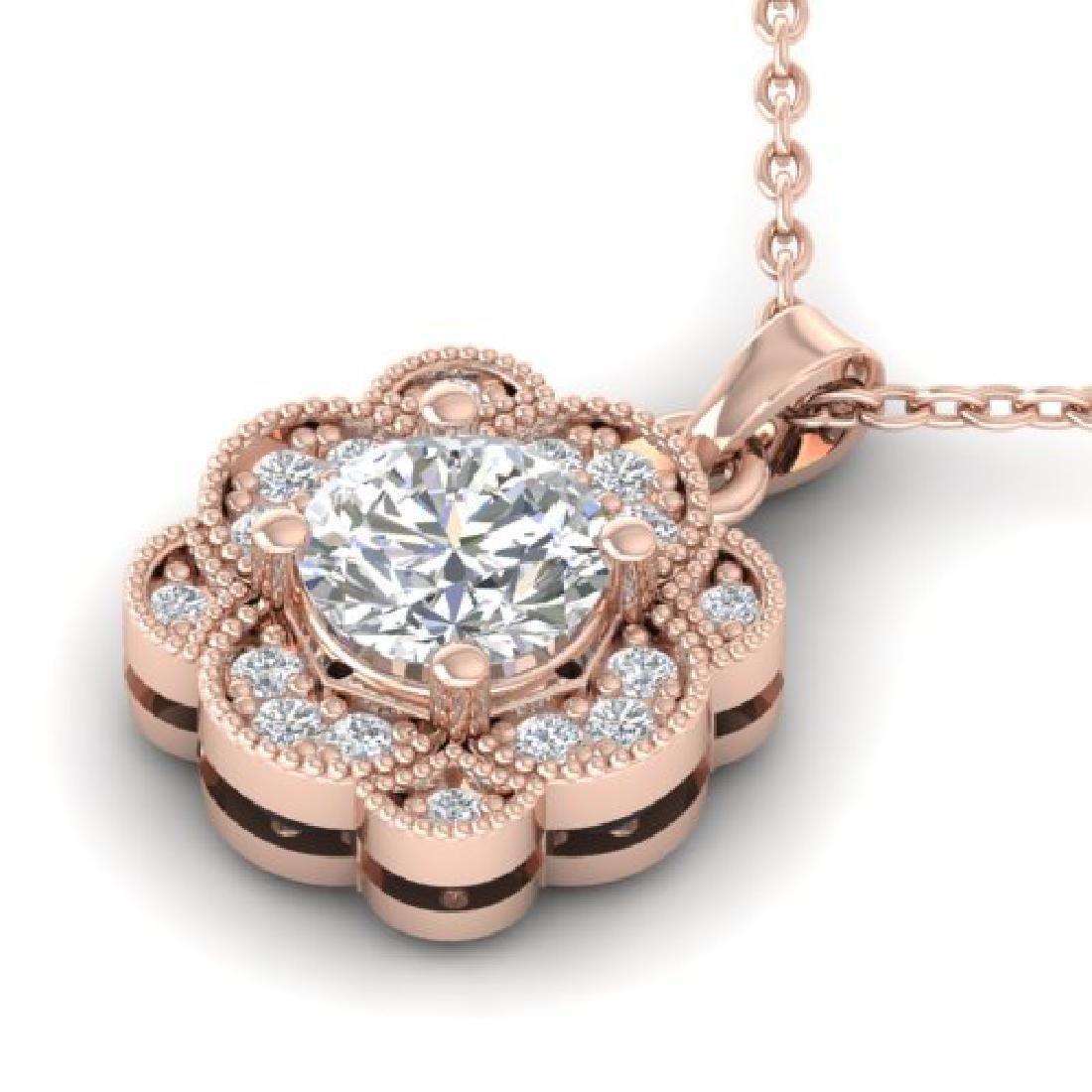 0.75 CTW I-SI Diamond Solitaire Art Deco Necklace 14K - 2