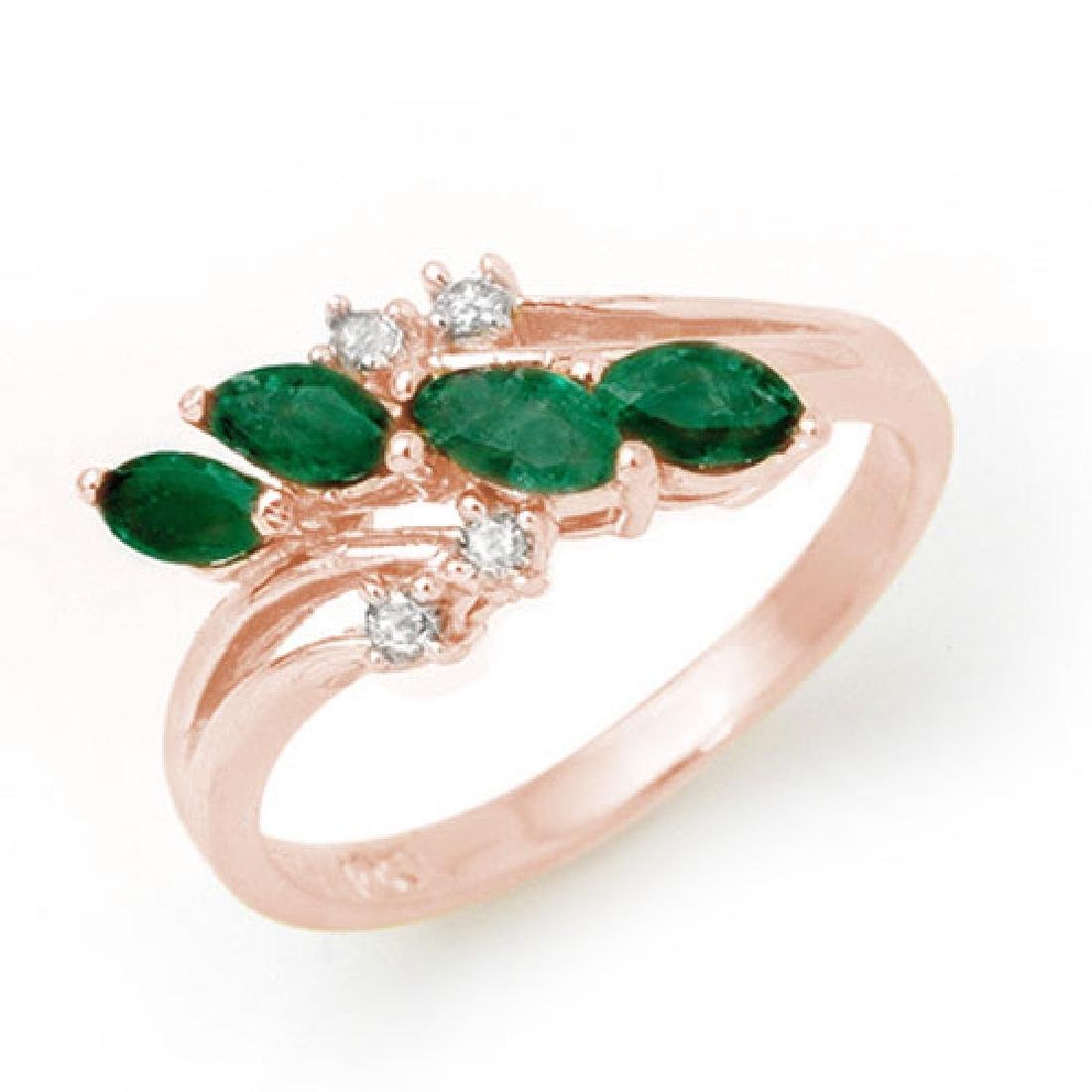 0.40 CTW Emerald & Diamond Ring 18K Rose Gold