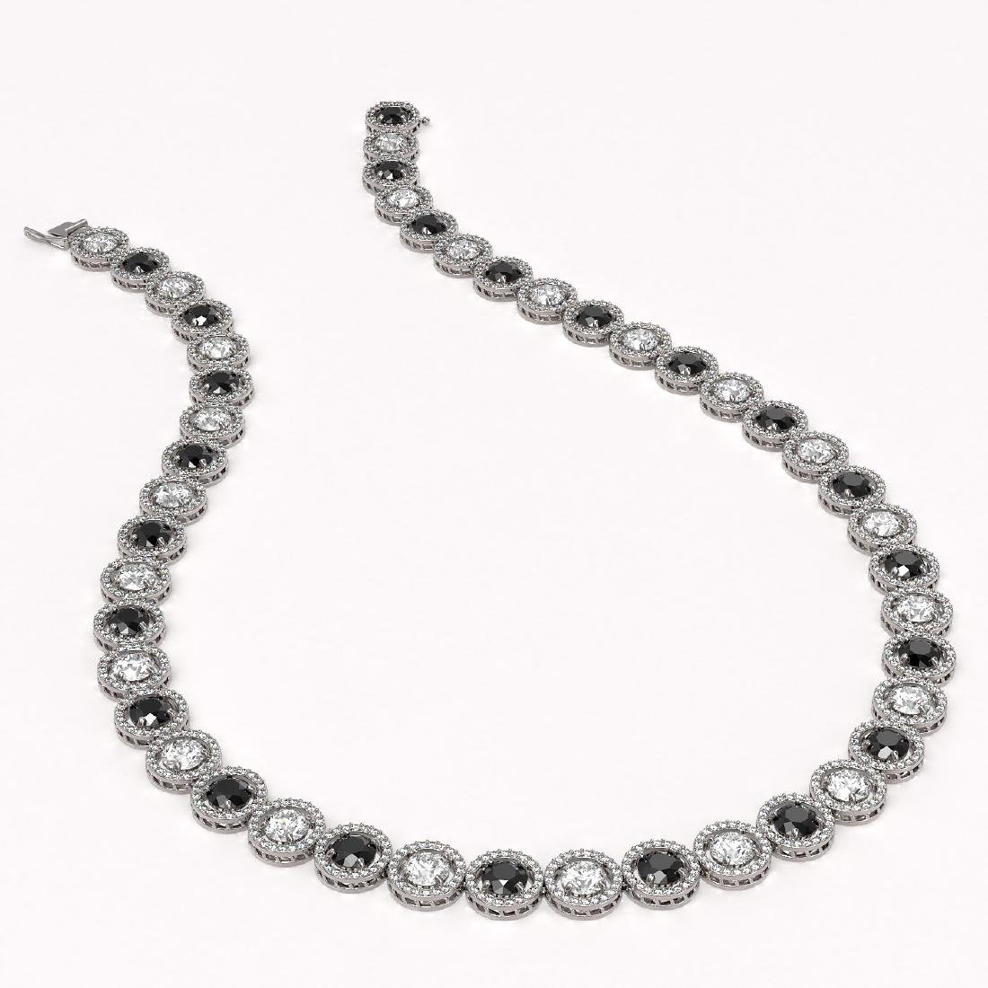 35.55 CTW Black & White Diamond Designer Necklace 18K - 2