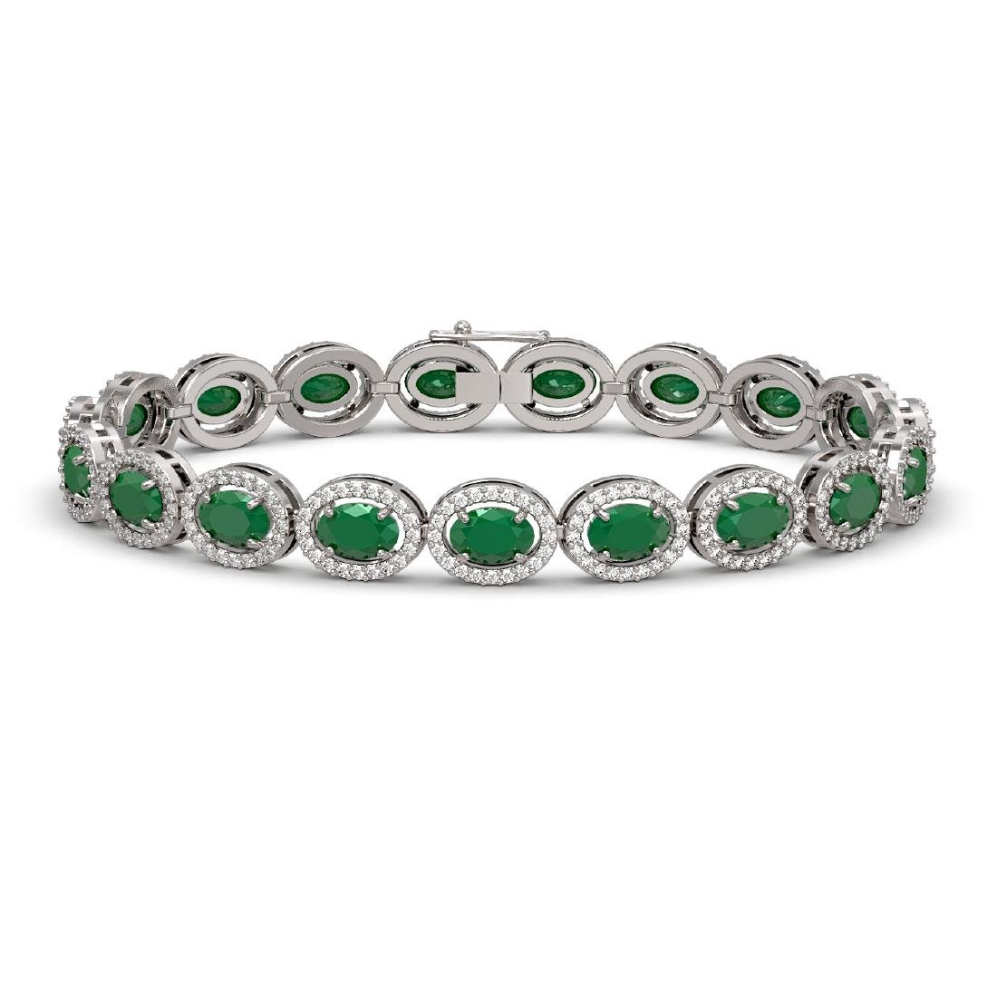 15.2 CTW Emerald & Diamond Halo Bracelet 10K White Gold