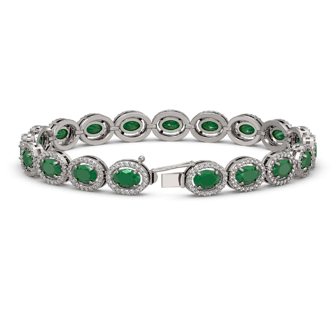15.2 CTW Emerald & Diamond Halo Bracelet 10K White Gold - 2