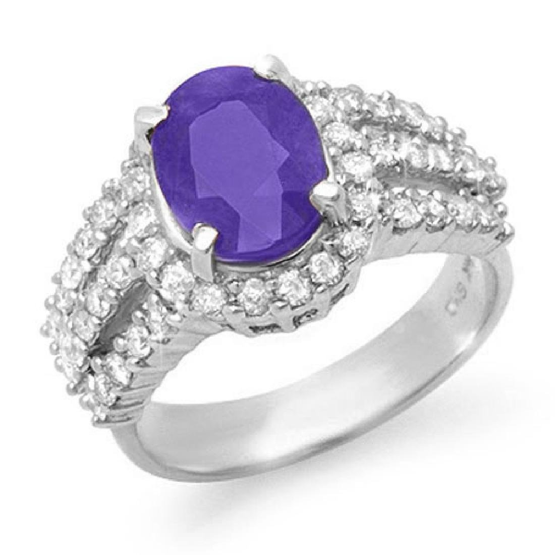 4.70 CTW Tanzanite & Diamond Ring 18K White Gold