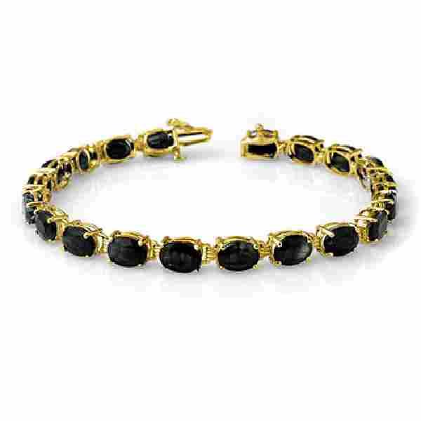 35.0 CTW Blue Sapphire Bracelet 10K Yellow Gold