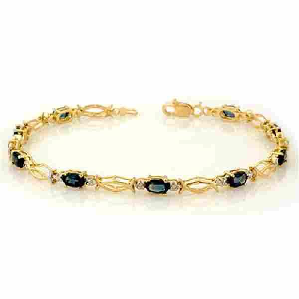 3.25 CTW Blue Sapphire Bracelet 10K Yellow Gold