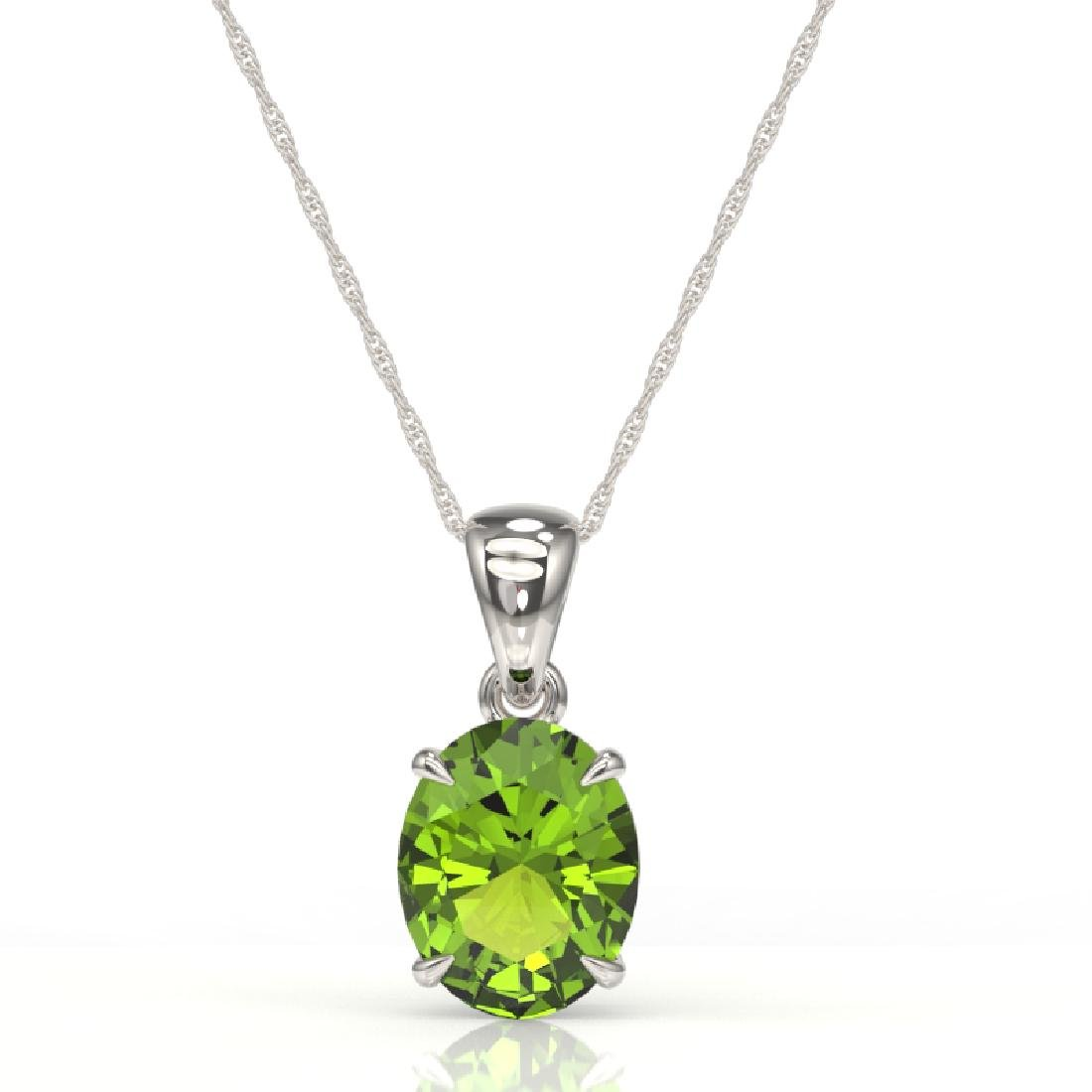 2.75 CTW Peridot Designer Inspired Solitaire Necklace - 2