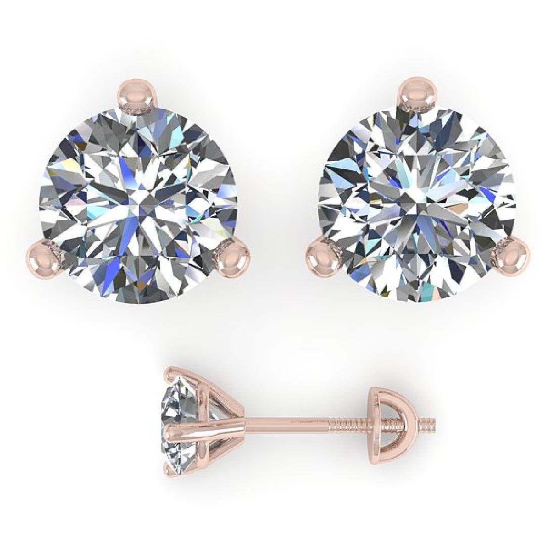 1.53 CTW Certified VS/SI Diamond Stud Earrings Martini - 2