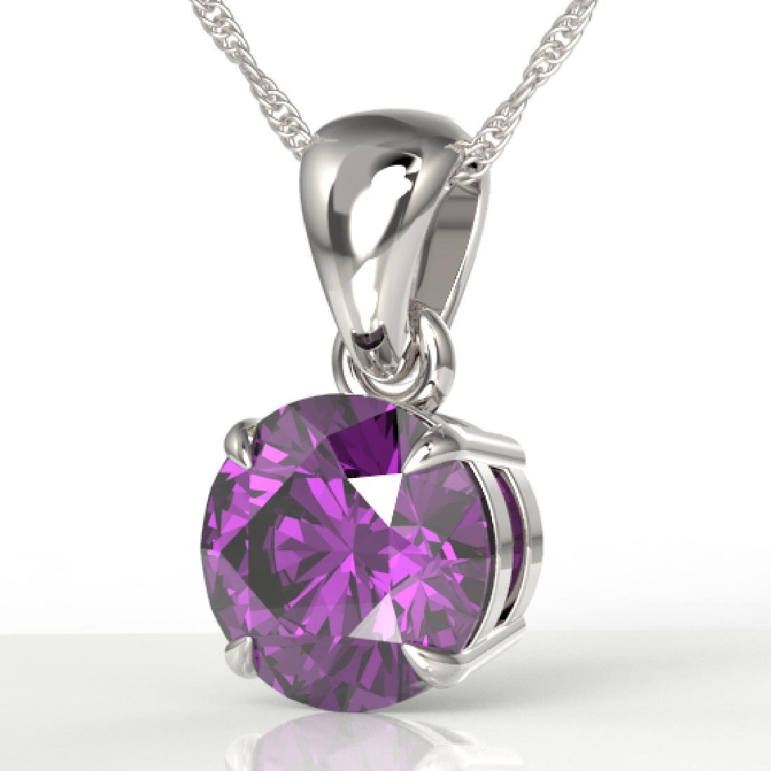 2 CTW Amethyst Designer Inspired Solitaire Necklace 18K
