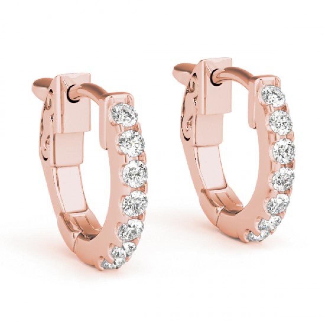 0.25 CTW Diamond VS/SI Certified Hoop Earrings 14K Rose - 2