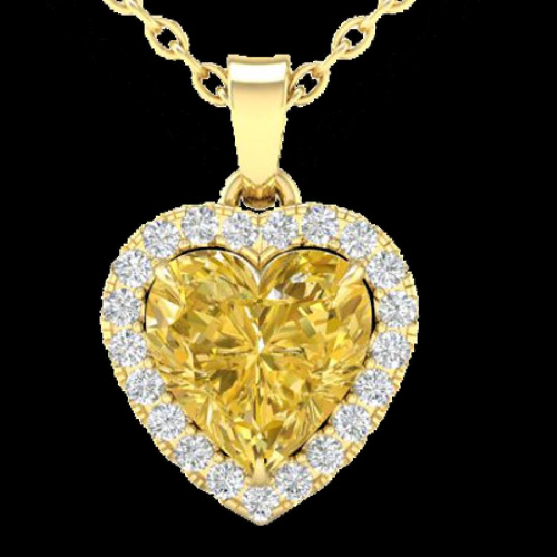 1 CTW Citrine & Micro Pave VS/SI Diamond Heart Necklace