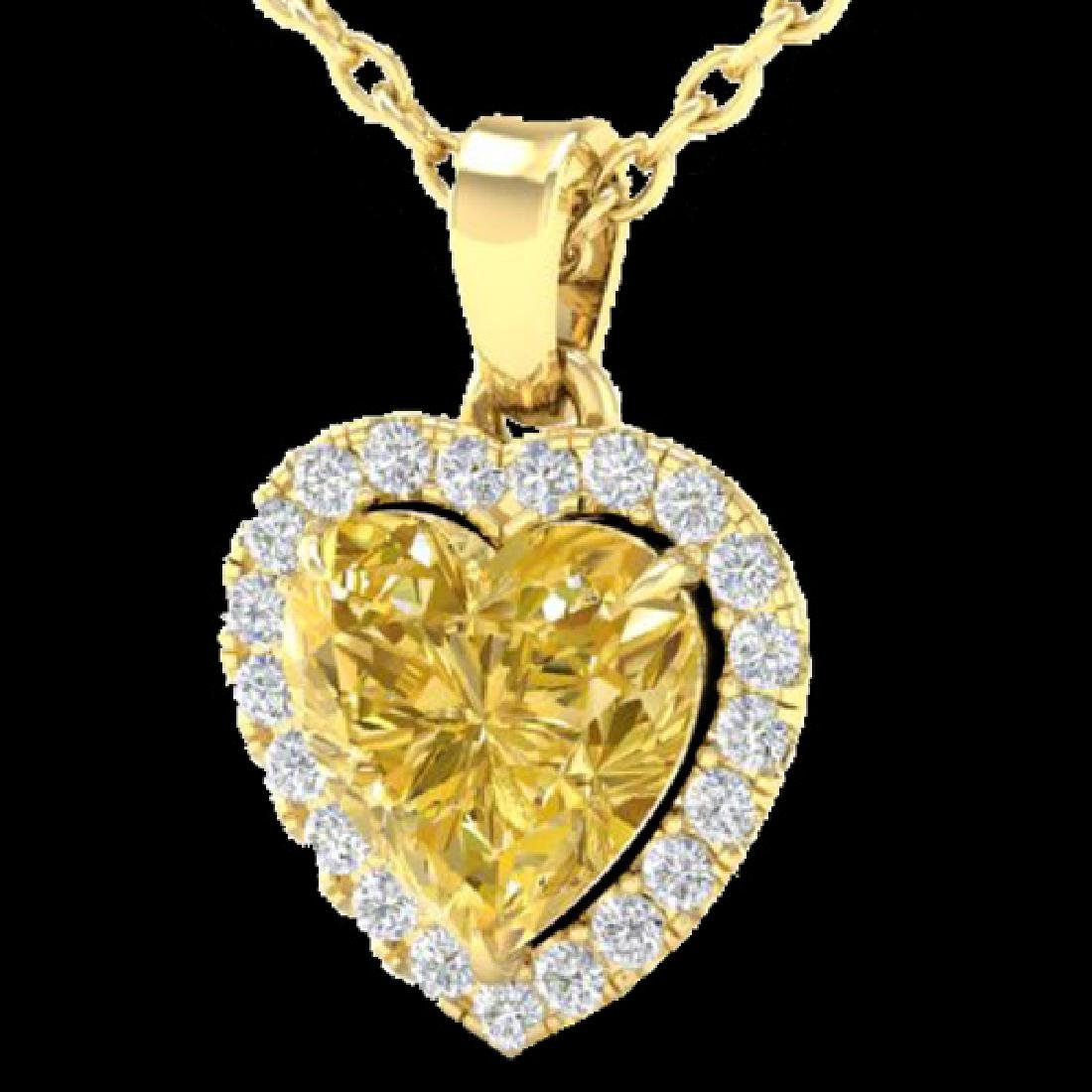 1 CTW Citrine & Micro Pave VS/SI Diamond Heart Necklace - 2