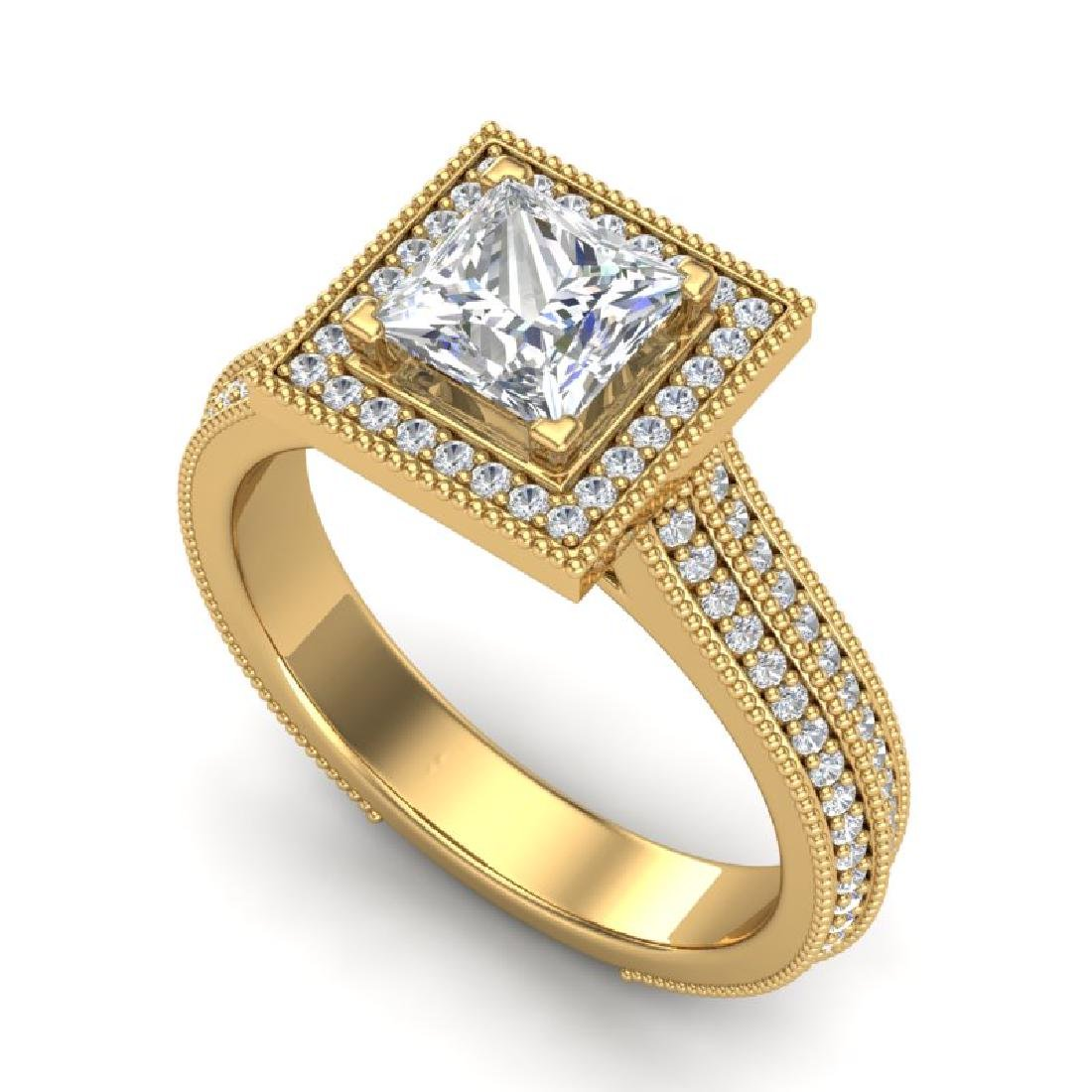 2 CTW Princess VS/SI Diamond Solitaire Micro Pave Ring