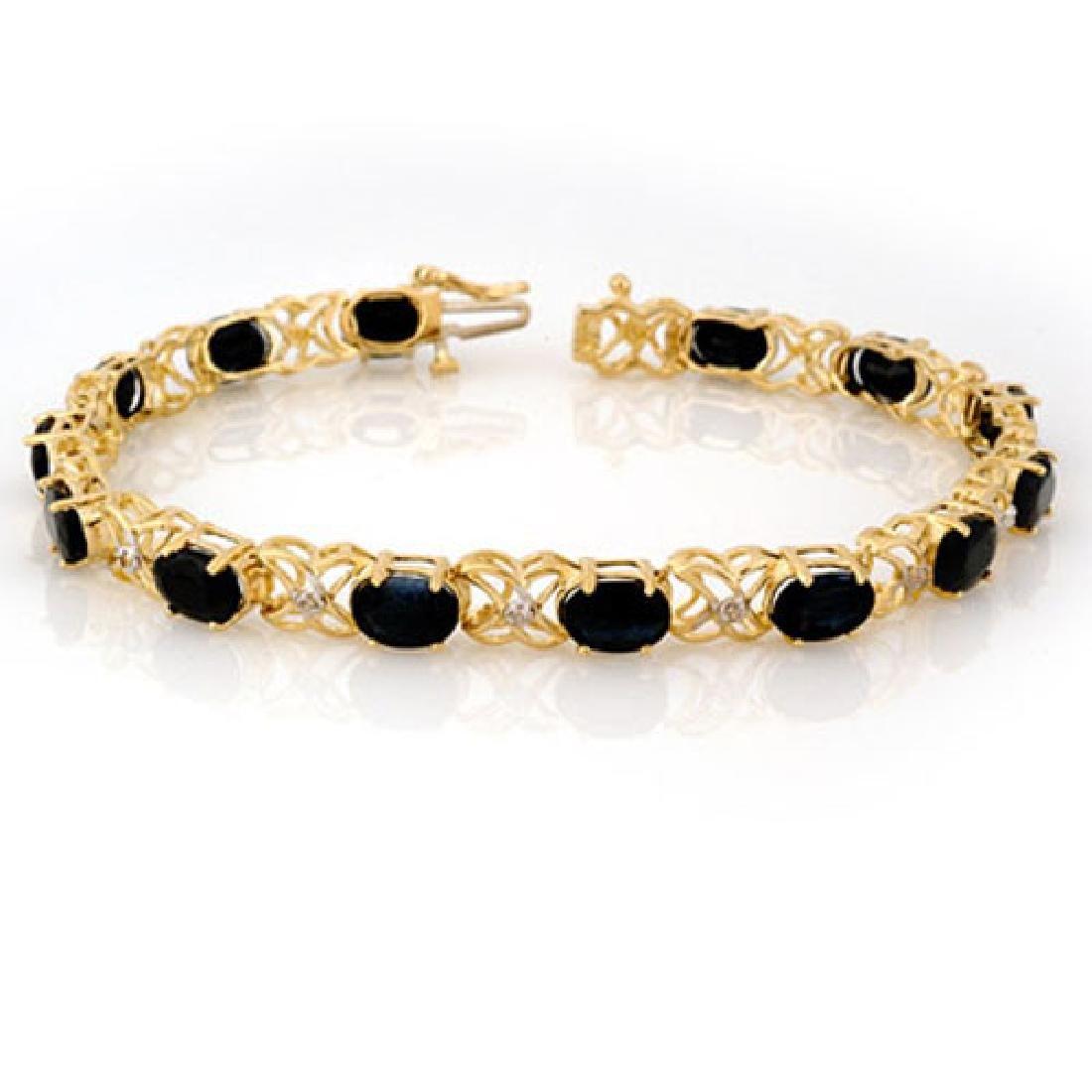 16.05 CTW Blue Sapphire & Diamond Bracelet 10K Yellow