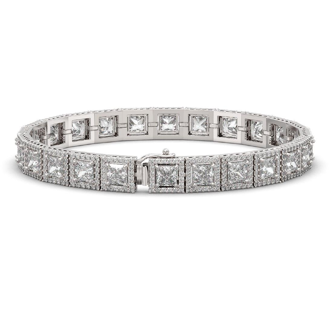 18.24 CTW Princess Diamond Designer Bracelet 18K White - 2