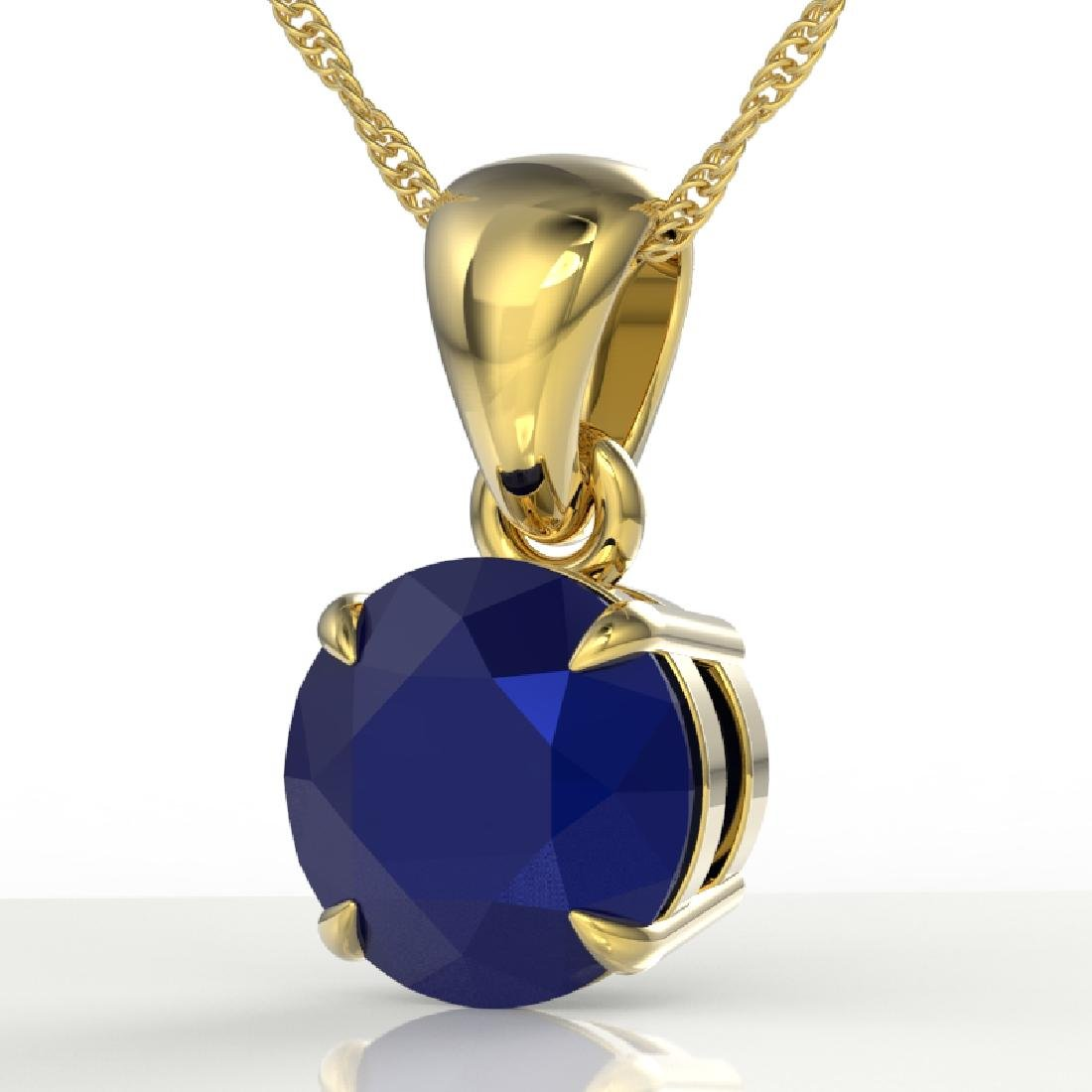 2 CTW Sapphire Designer Inspired Solitaire Necklace 18K
