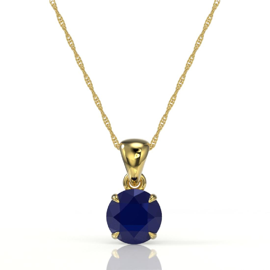 2 CTW Sapphire Designer Inspired Solitaire Necklace 18K - 2