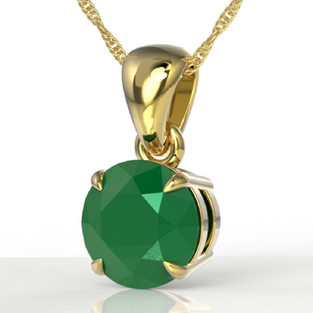 2 CTW Emerald Designer Inspired Solitaire Necklace 18K