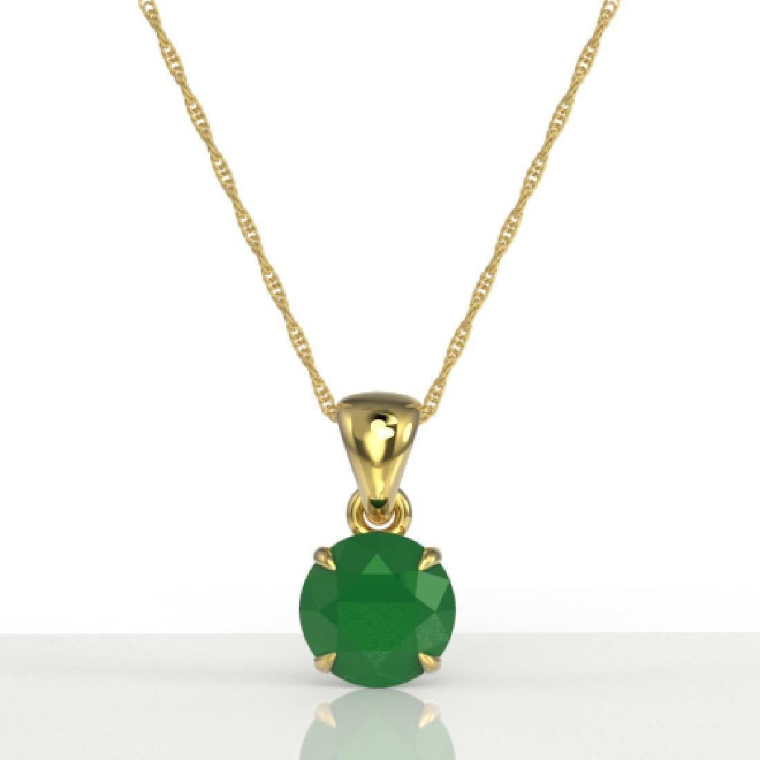 2 CTW Emerald Designer Inspired Solitaire Necklace 18K - 2