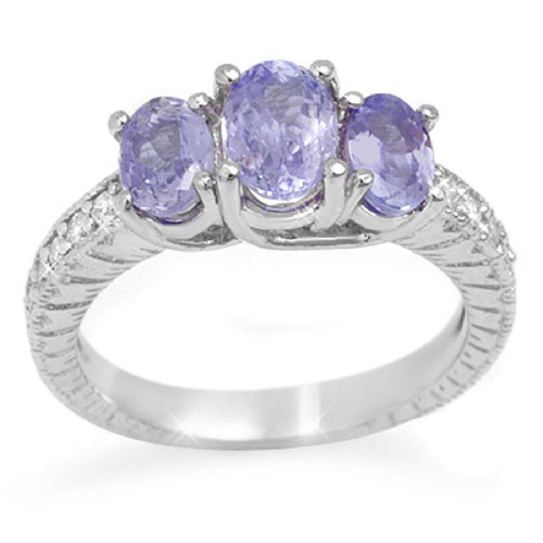 2.50 CTW Tanzanite & Diamond Ring 10K White Gold