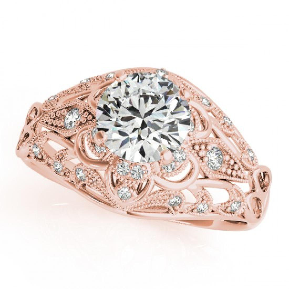 0.87 CTW Certified VS/SI Diamond Solitaire Antique Ring - 2