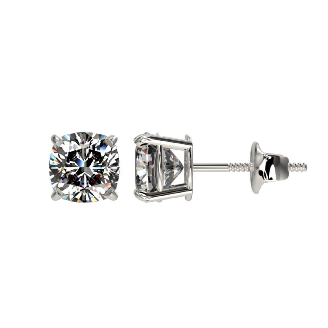 1 CTW Certified VS/SI Quality Cushion Cut Diamond Stud - 2