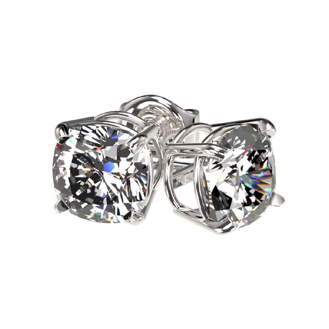 1 CTW Certified VS/SI Quality Cushion Cut Diamond Stud - 3
