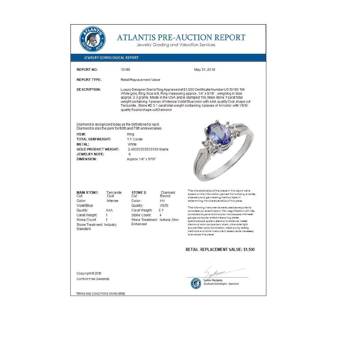1.10 CTW Tanzanite & Diamond Ring 10K White Gold - 2