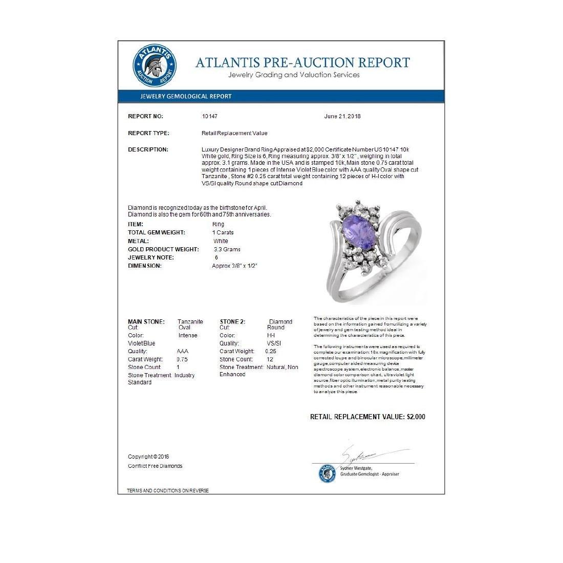 1.0 CTW Tanzanite & Diamond Ring 10K White Gold - 2