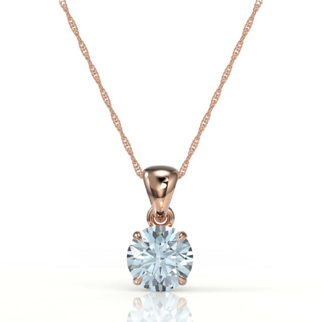 2 CTW Aquamarine Designer Inspired Solitaire Necklace - 2