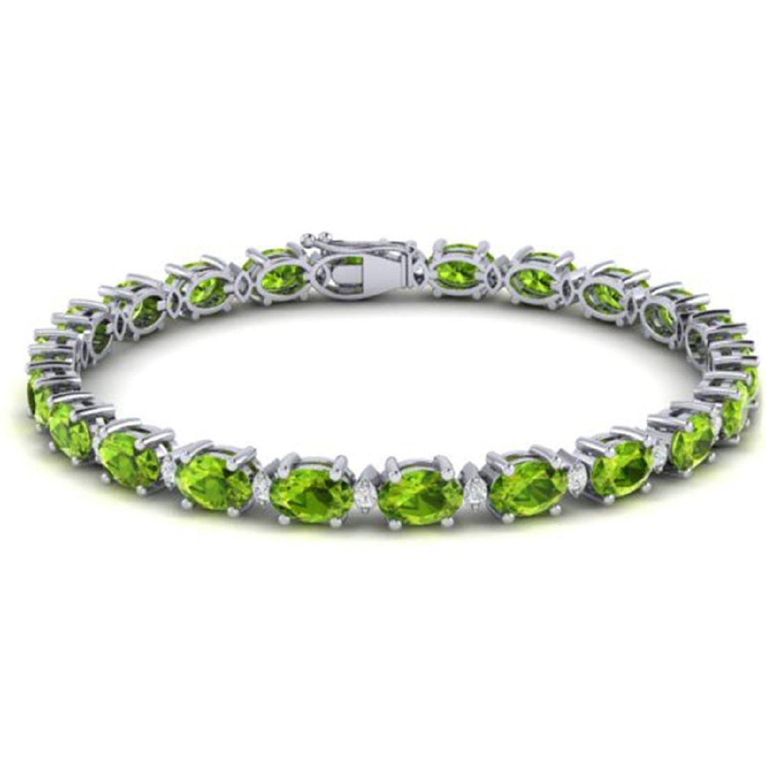 19.7 CTW Peridot & VS/SI Certified Diamond Eternity