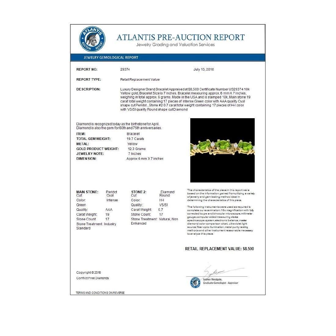 19.7 CTW Peridot & VS/SI Certified Diamond Eternity - 4