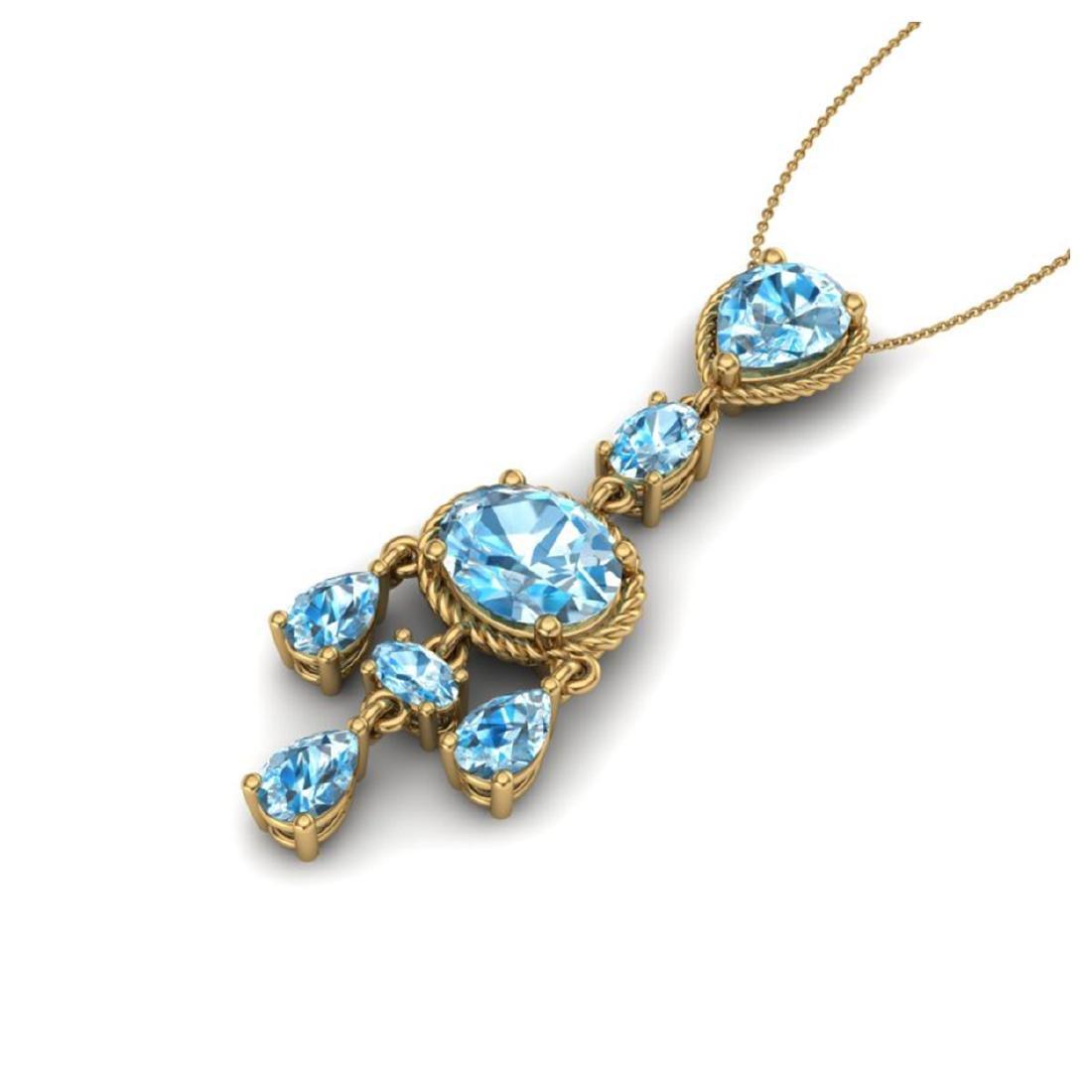 8 CTW Sky Blue Topaz Necklace Designer Vintage 10K - 2