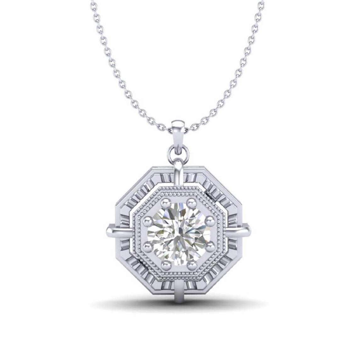 0.75 CTW VS/SI Diamond Solitaire Art Deco Stud Necklace - 2
