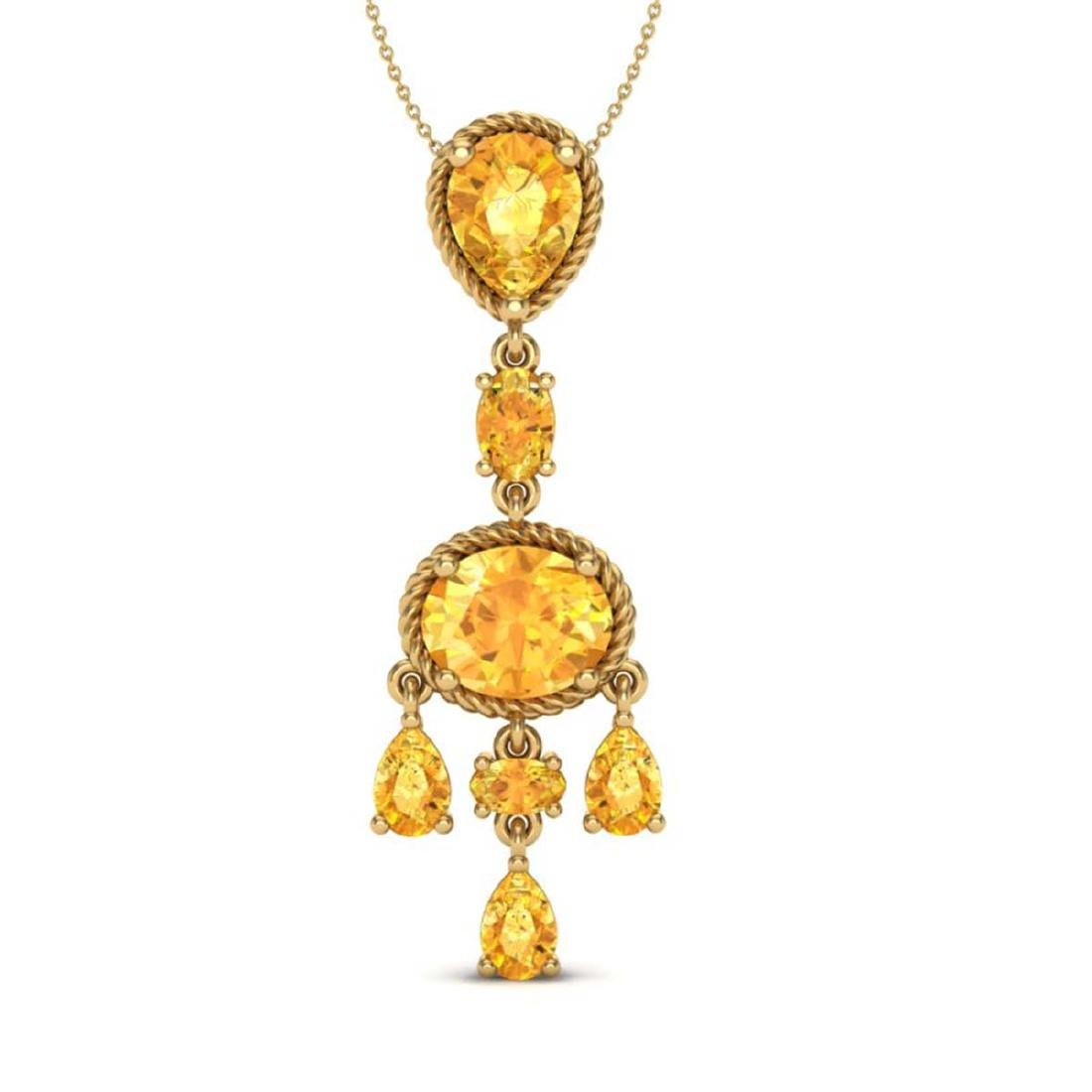 8 CTW Citrine Necklace Designer Vintage 10K Yellow Gold