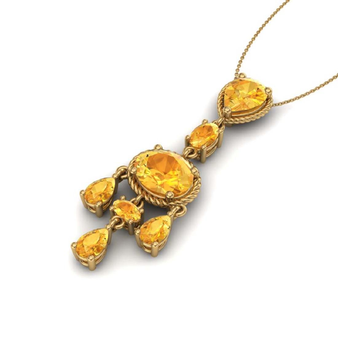 8 CTW Citrine Necklace Designer Vintage 10K Yellow Gold - 2