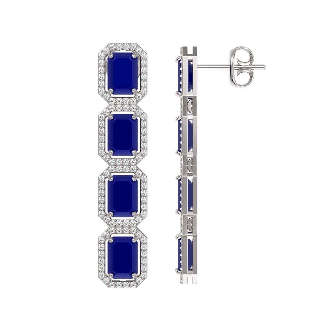 12.33 CTW Sapphire & Diamond Halo Earrings 10K White - 2