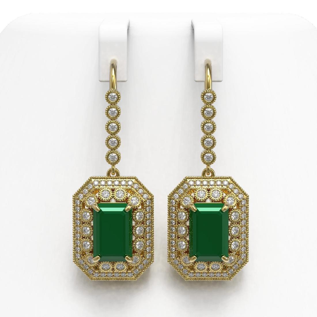 14.16 CTW Emerald & Diamond Earrings 14K Yellow Gold -