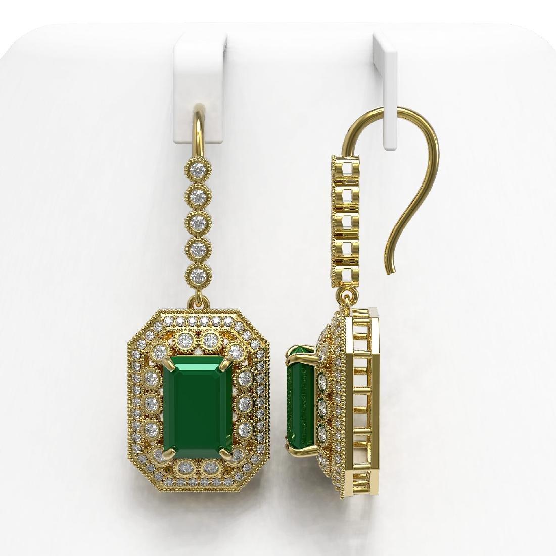 14.16 CTW Emerald & Diamond Earrings 14K Yellow Gold - - 2