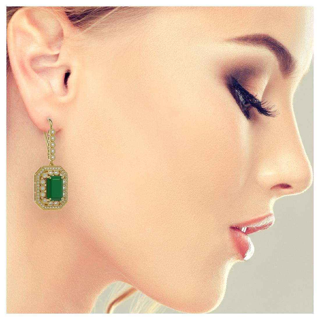 14.16 CTW Emerald & Diamond Earrings 14K Yellow Gold - - 3