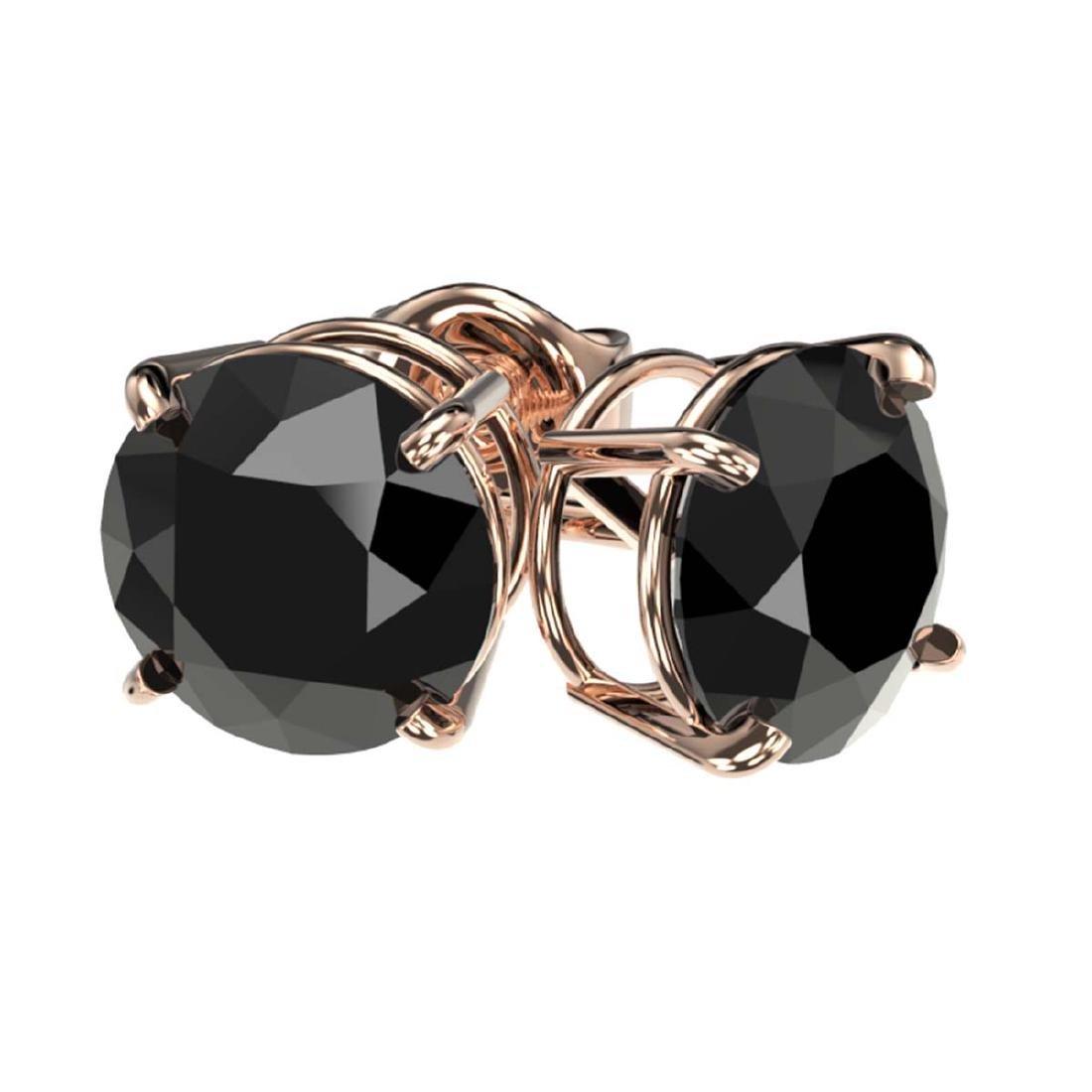 2 CTW Fancy Black VS Diamond Solitaire Stud Earrings - 3