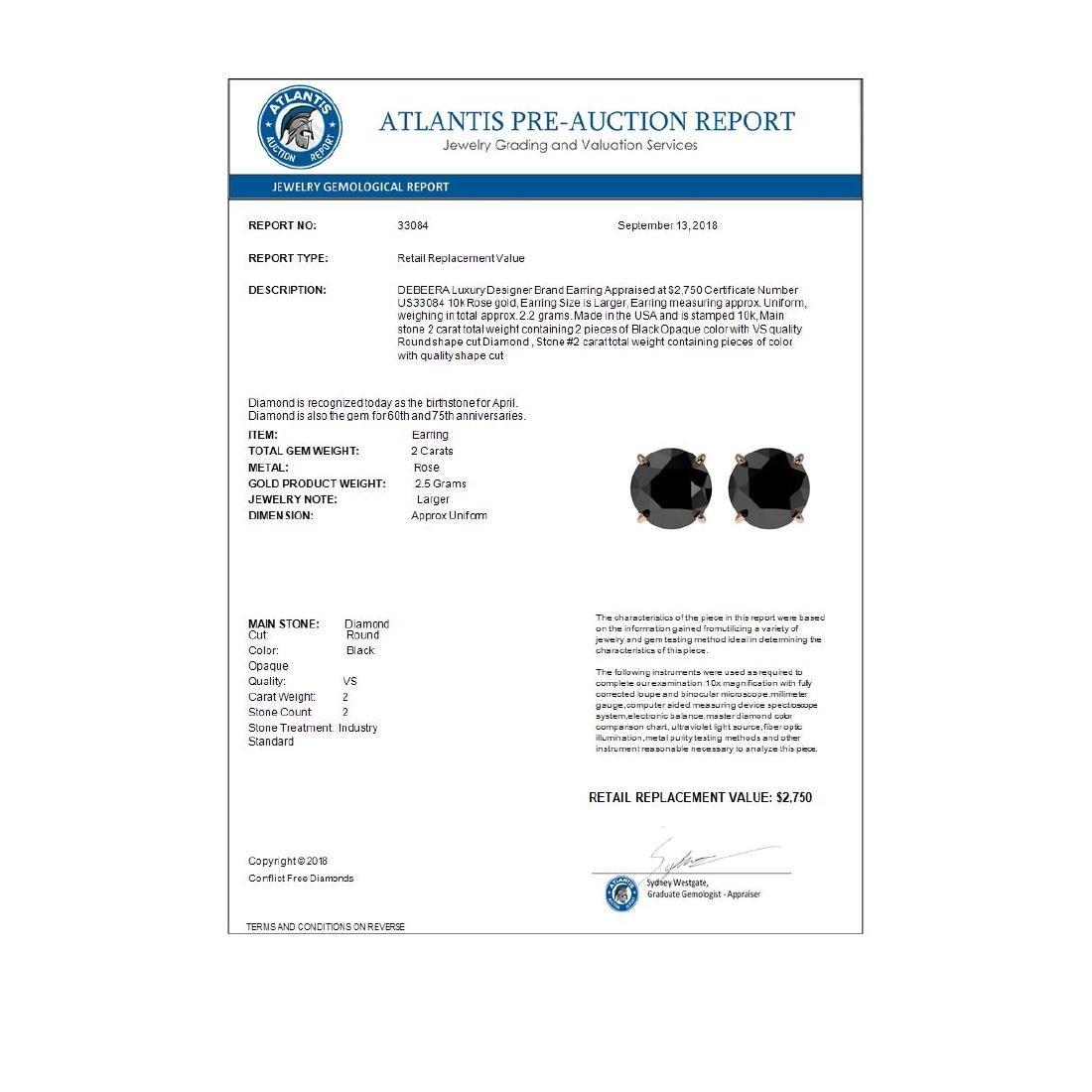 2 CTW Fancy Black VS Diamond Solitaire Stud Earrings - 4
