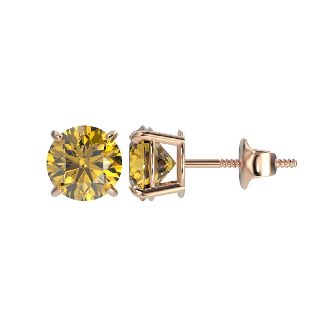 1.54 ctw Intense Yellow Diamond Stud Earrings 10K Rose - 2