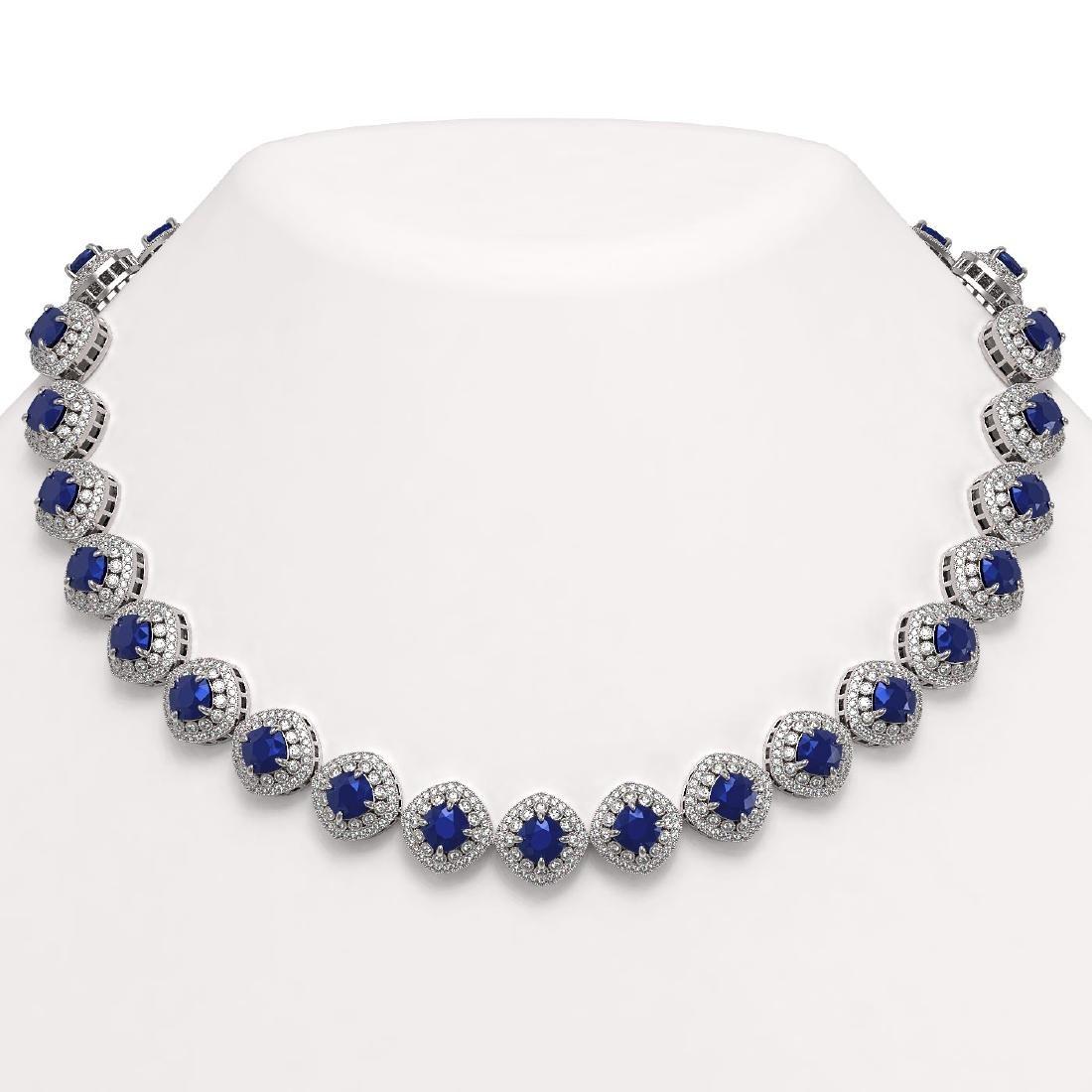 82.17 ctw Sapphire & Diamond Necklace 14K White Gold -