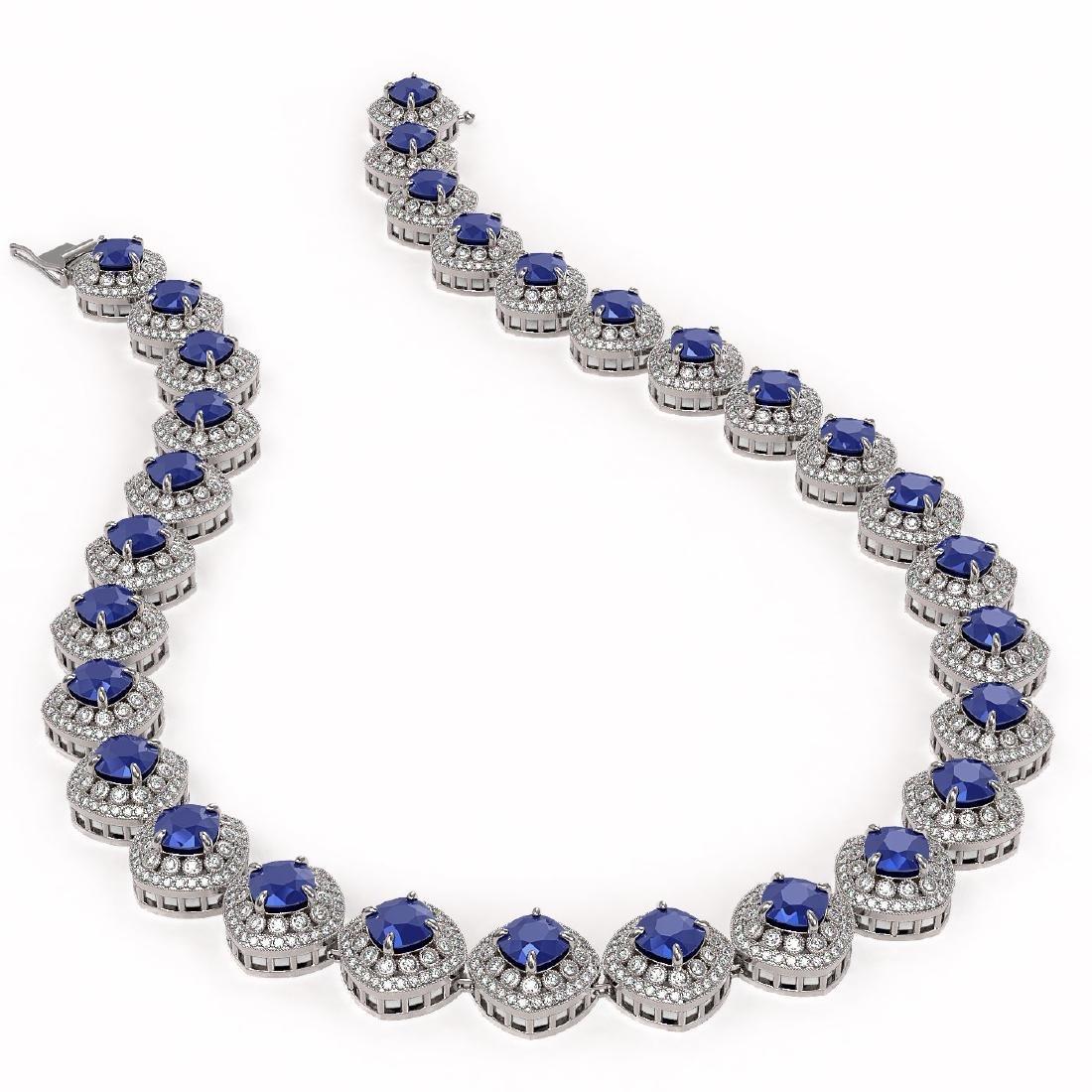 82.17 ctw Sapphire & Diamond Necklace 14K White Gold - - 2