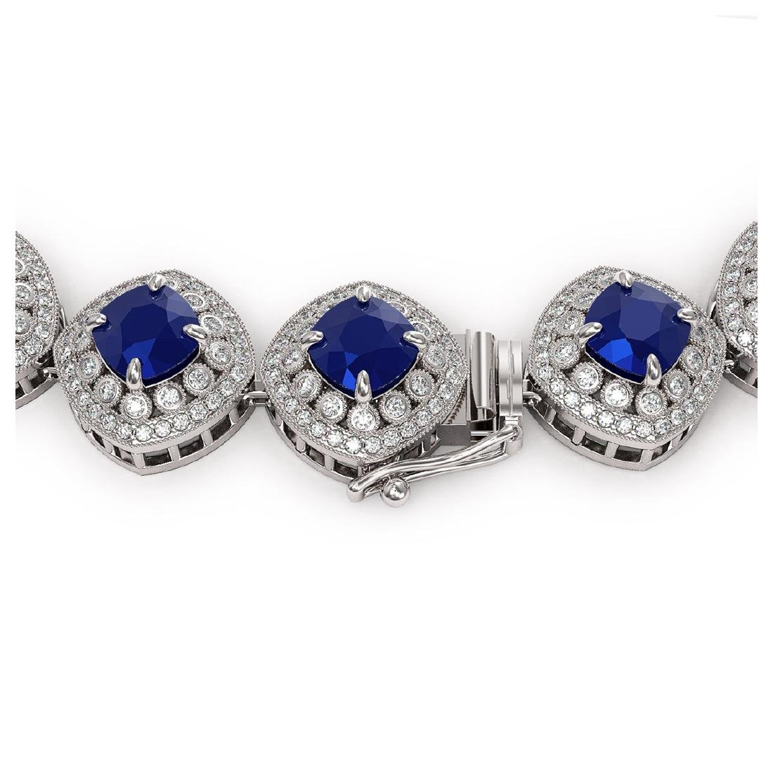 82.17 ctw Sapphire & Diamond Necklace 14K White Gold - - 3