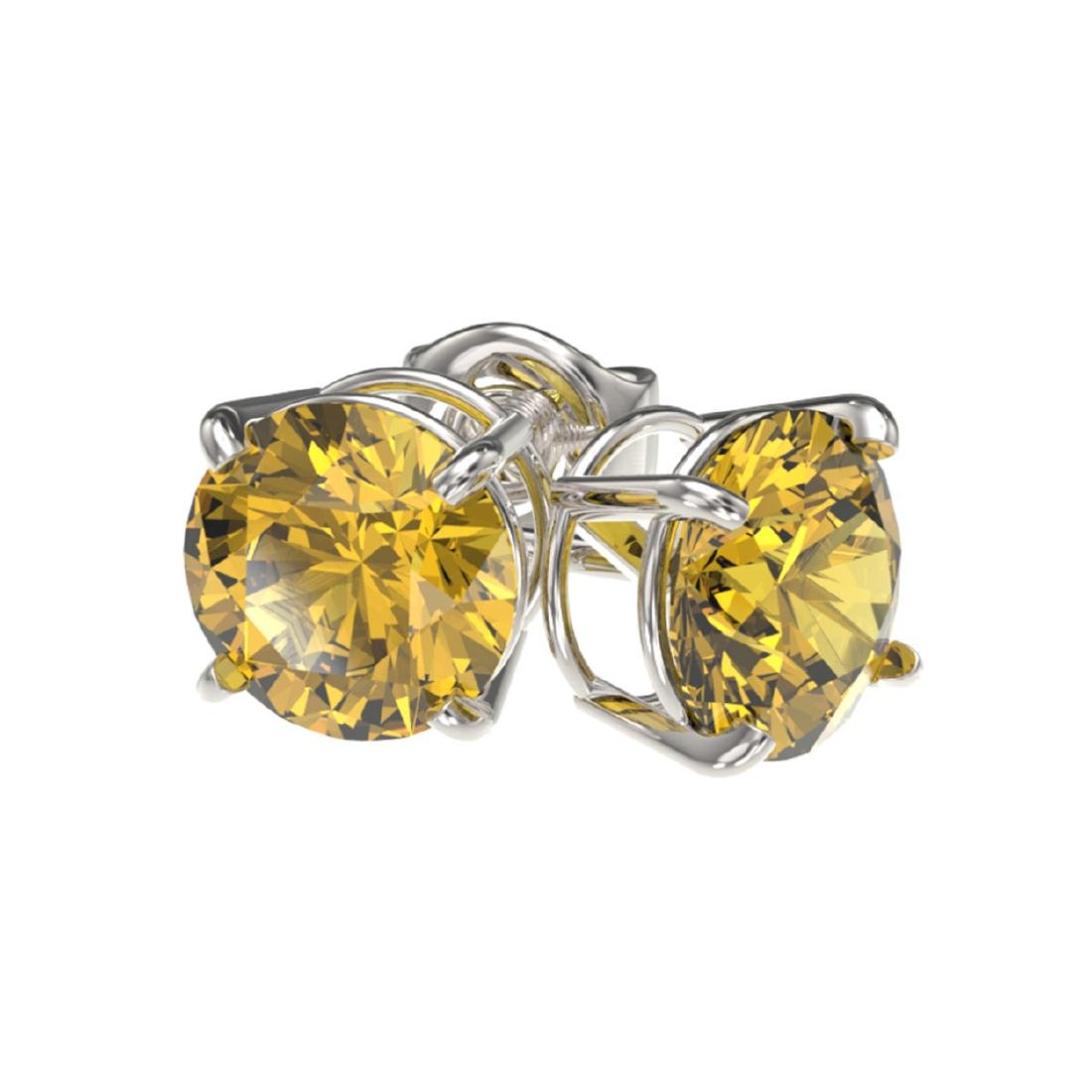 1.54 ctw Intense Yellow Diamond Stud Earrings 10K White - 3