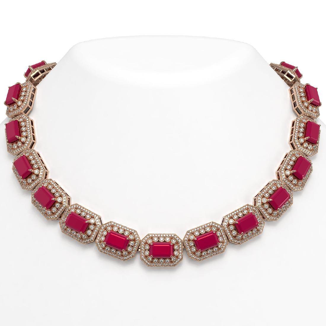137.65 ctw Ruby & Diamond Necklace 14K Rose Gold -