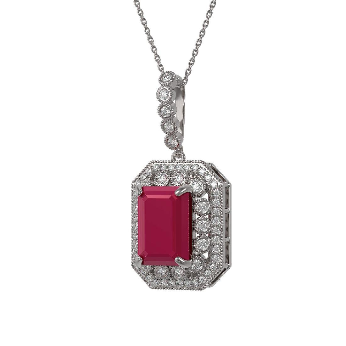 11.99 ctw Ruby & Diamond Necklace 14K White Gold -
