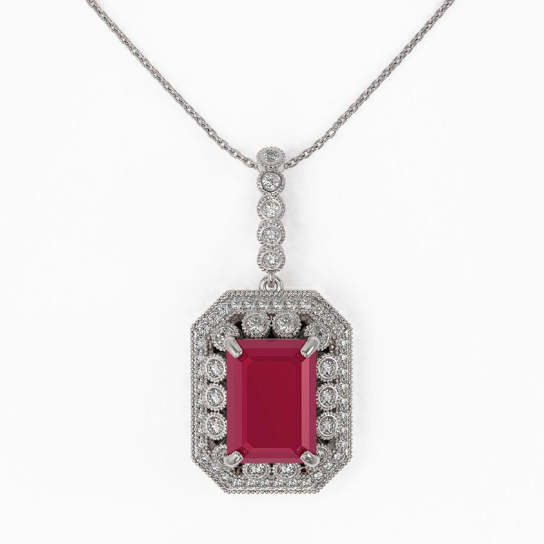 11.99 ctw Ruby & Diamond Necklace 14K White Gold - - 2