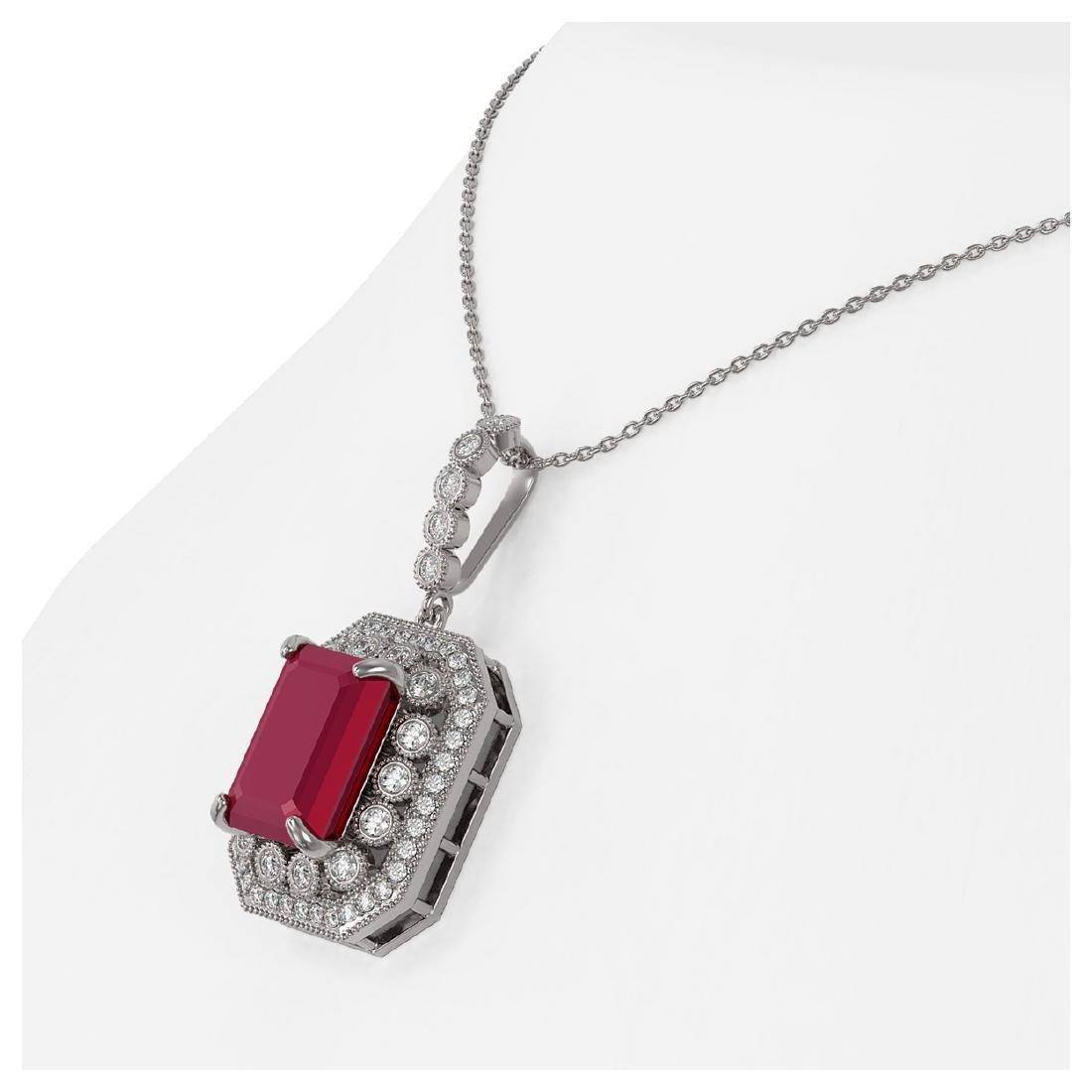 11.99 ctw Ruby & Diamond Necklace 14K White Gold - - 3