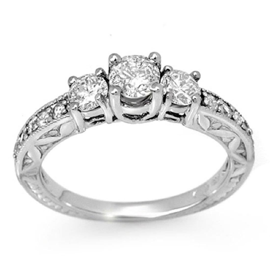 0.95 ctw VS/SI Diamond Ring 18K White Gold - REF-123F6N